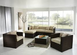 affordable furniture ideas of dark brown synthetic wicker rattan sofa sets for indoor living room with affordable chaise indoor