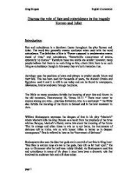 romeo and juliet tragedy of fate essay   essayromeo and juliet fate coincidence essay