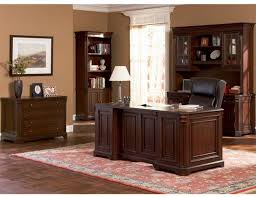 the updated styling and rich finish give this home office group a bold look desk features felt lined top drawers keyboard drawer and computer storage buy home office furniture give