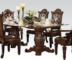 Pedestal Dining Table Acme Vendome Double Pedestal Dining Table With Glass Table Top In