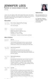 nanny resume samples   visualcv resume samples databasenanny resume samples  work experience