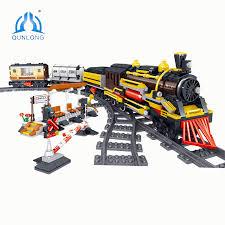 <b>QUNLONG City</b> Train Station Figures Railway Track <b>Building</b> Blocks ...