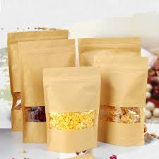 <b>20pcs</b> Waxed Kraft Paper Food <b>Bags</b> With <b>Window</b> Self Sealing ...