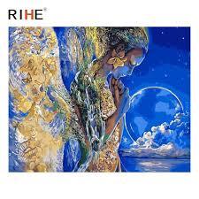 <b>RIHE</b> Pray Girl Oil Painting By Numbers Angel <b>Moon</b> Cuadros ...