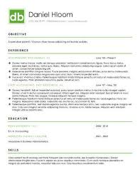 one column format with green colouring for section borders and key titles personal branding template for marketer public relations sales or accountant sample modern resume