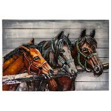 "<b>Картина</b> Miralight деревянная с металлом S18B13 ""Лошади ..."