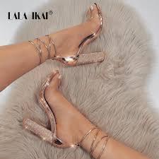 LALA IKAI <b>Women</b> Heeled Sandals Bandage Rhinestone Ankle ...