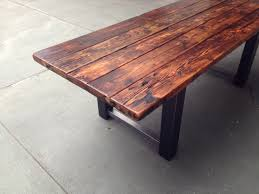 easy traditional reclaimed brown painted teak wood furniture long table vintage style using black and silver affordable reclaimed wood furniture