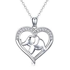 Elephant in The Heart <b>Pendant Necklace 925</b> Sterling <b>Silver</b> Little ...