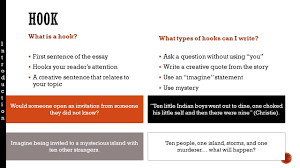 students will be able to address a prompt in essay format while 3 what is a hook 61607 first sentence