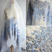 <b>1 Yard 3D</b> Organza Flower Mesh Lace Fabric For Bridal Dress ...