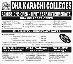 admissions 2016 17 dha karachi colleges first year