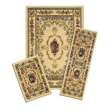 runner rug sets x savonnerie beige  piece set contains  ft x  ft area rug