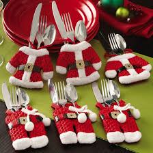 household dining table set christmas snowman knife: amazoncom collections etc santa suit christmas silverware holder pockets red pcs home amp kitchen