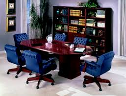 traditional racetrack conference table with low back upholstered chairs bedford shaped office desk