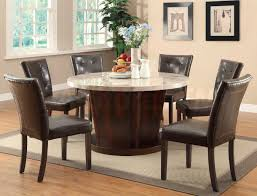 Granite Dining Room Tables Brown Wooden Dining Table With Round White Granite Top Combined By