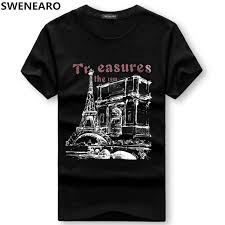 SWENEARO Men's <b>T Shirts summer</b> Short Sleeve Eiffel Tower ...