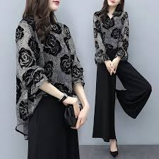 2pcs Elegant <b>OL Office Lady</b> Long Sleeve Shirt Top+Wide Leg Long ...