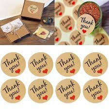 "5Pcs Seals <b>Kraft</b> Paper Love Heart <b>Stickers</b> ""Thank You""Wedding ..."