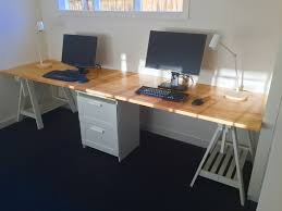 long office desk. long home office desk made from two ikea gerton beech table tops with support