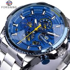 <b>Forsining Blue Ocean Design</b> Silver Steel 3 Dial Calendar Display ...