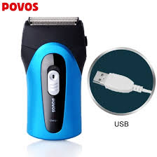 Shop POVOS PS5302 Rechargeable Electric Shaver, Blue Online ...