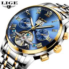 <b>LIGE Mens Watches Top</b> Brand Luxury Automatic Mechanical Watch ...