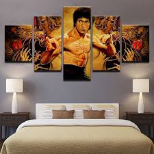 <b>Home Decoration</b> Paintings On Canvas Poster 5 Panel Bruce Lee ...
