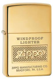 <b>Зажигалка ZIPPO Windproof</b>, <b>латунь</b>, золотистый, глянцевая с ...