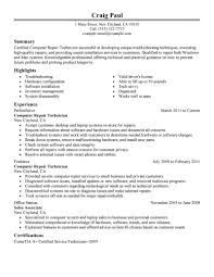 computers technology resume examples computers technology computer repair technician resume example