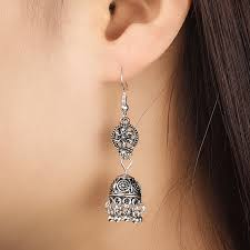Online Shop Gypsy Jewelry Retro Ethnic Silver <b>Indian Jhumka</b> Small ...
