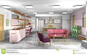 rustic style living room clever: industrial rustic modern living room with office and open kitchen stock photo