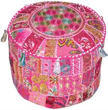 Home & Kitchen Furniture Bohemian Vintage <b>Embroidered Pouf</b> ...