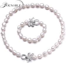 YouNoble <b>Baroque 925 Silver</b> 100% White Natural Freshwater <b>pearl</b> ...