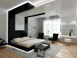 japanese bedroom interior design style with white wall paint and led light under the black bed also grey fur rug amazing white black bedroom