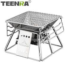TEENRA <b>Large</b> Stainless Steel <b>BBQ Grill Foldable Barbecue Grill</b> ...