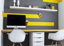 budget home office design with white ikea floating shelf budget home office design