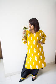 <b>Diamond Print</b> Long Kurti & Skirt | Mustard Yellow & Black – Grace N ...