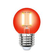 <b>Лампа Uniel LED</b>-<b>G45</b>-<b>5W</b>/<b>RED</b>/E27 <b>GLA02RD</b> светодиодная ...
