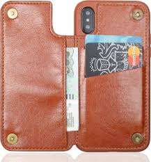 <b>Чехол Brosco</b> Leather Wallet для <b>Apple</b> iPhone XS Max, коричневый