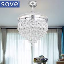 <b>Modern LED</b> Chrome Crystal Ceiling Fan With Lights Bedroom ...