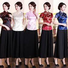 <b>Chinese Traditional Tops</b> Women Silk Satin Shirt Summer Blouse ...