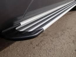 Купить <b>Пороги алюминиевые Slim</b> Line Silver ТСС для Land ...