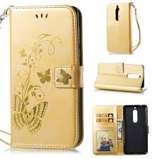 Flip Cover For Nokia 5 N5 Case Gold stamp <b>Golden butterfly</b> PU ...