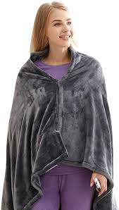 <b>Heated Blanket Shawl</b>, Coral Fleece <b>3 Heating</b> Settings USB ...