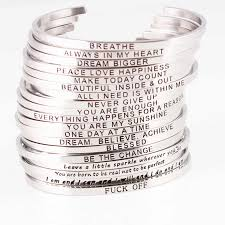New Silver Stainless Steel Bangle <b>Engraved</b> Positive Inspirational ...