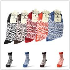 <b>2 Pairs</b>/<b>lot Unisex</b> Geometric Pattern Cozy Winter Warm Wool Socks ...