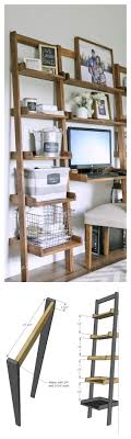 diy shelf leaning ladder wall bookshelf made from 1x boards desk plans too bathroomcute diy office homemade desk plans furniture