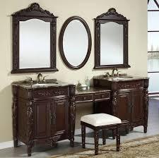 inspiration bathroom vanity chairs: furniture inspiration plush bathroom vanities ideas gorgeous furniture design tasteful dark brown painted double wooden bathroom vanities ideas with