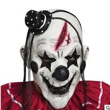 <b>Deluxe Scary Clown</b> Mask Adult Latex White Hair Halloween Clown ...